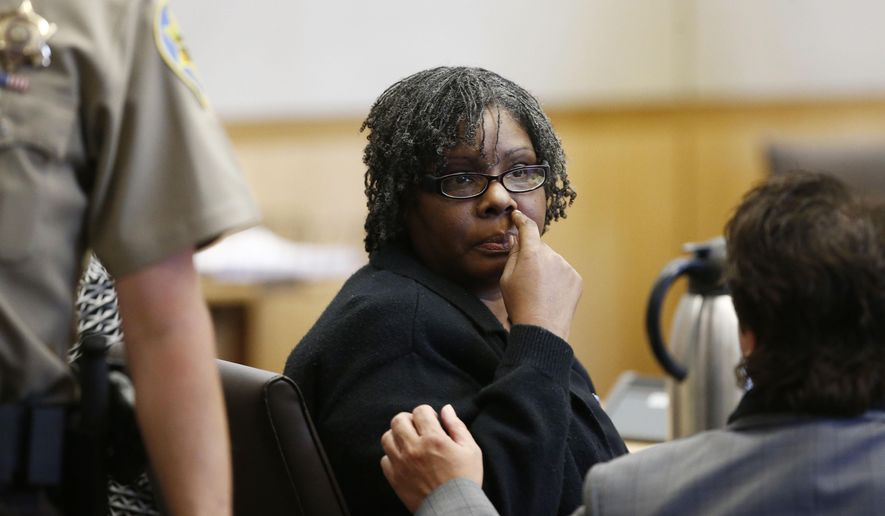 Jerice Hunter was convicted of killing and abusing her 5-year-old daughter on Monday, April 27, 2015 in Maricopa County Superior Court in Phoenix, Ariz. Authorities said the 41-year-old Hunter kept her daughter Jhessye Shockley at the family's suburban Phoenix home and deprived her of food and water until she died. (Rob Schumacher/The Arizona Republic via AP, Pool)