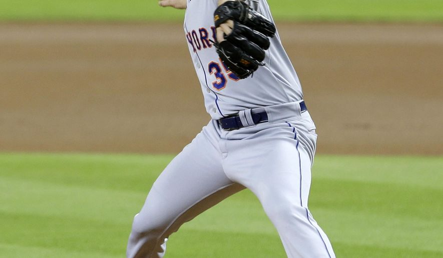 New York Mets' Dillon Gee pitches against the Miami Marlins in the first inning of a baseball game, Monday, April 27, 2015, in Miami. (AP Photo/Alan Diaz)