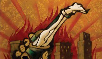 Illustration on rioting and civil response by Linas Garsys/The Washington Times