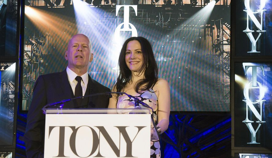 Bruce Willis and Mary-Louise Parker announce the 69th Annual Tony Award nominations at The Paramount Hotel on Tuesday, April 28, 2015, in New York. (Photo by Charles Sykes/Invision/AP)