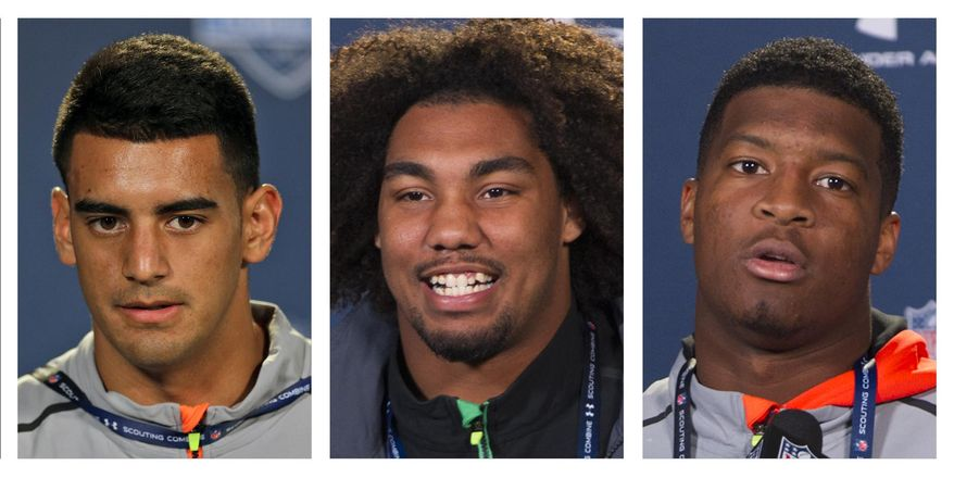 FILE - From left are 2015, file photos showing Marcus Mariota, Leonard Williams and Jameis Winston. The NFL draft heads to Chicago this week, and the AP's mock draft sees it this way: No. 1 Jameis Winston to Tampa Bay, followed by Marcus Mariota to Tennessee and Leonard Williams to Jacksonville. (AP Photo/File)