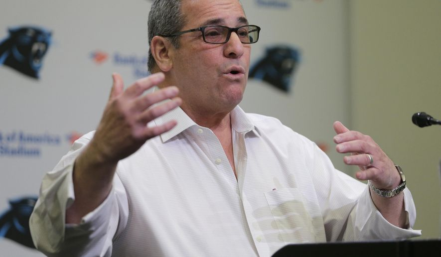 Carolina Panthers general manager Dave Gettleman answers a question during a pre-draft news conference for the NFL football team in Charlotte, N.C., Tuesday, April 28, 2015. (AP Photo/Chuck Burton)