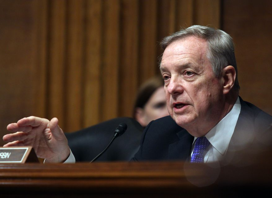 Senate Judiciary Committee member Sen Richard Durbin, D-Ill. questions Homeland Security Secretary Jeh Johnson, on Capitol Hill in Washington, Tuesday, April 28, 2015, during the committee's hearing on oversight of the Homeland Security Department.  (AP Photo/Lauren Victoria Burke) **FILE**
