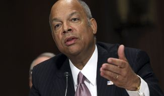 In this April 28, 2015, photo, Homeland Security Secretary Jeh Johnson testifies on Capitol Hill in Washington, before the Senate Judiciary Committee on oversight of the department. The Obama administration is on pace to deport the fewest number of immigrants in nearly a decade. Federal immigration officials have sent home about 127,000 people as of mid-April. That's about 19,730 people a month since the government's fiscal year started in October.   (AP Photo/Lauren Victoria Burke)