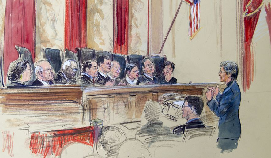 This artist rendering shows civil rights lawyer Mary Bonauto , right, arguing before the U.S. Supreme Court during its hearing on same-sex marriage, Tuesday, April 28, 2015, in Washington. Justices, from left are, Sonia Sotomayor, Stephen Breyer, Clarence Thomas, Antonin Scalia, Chief Justice John Roberts, Anthony Kennedy, Ruth Bader Ginsburg, Samuel Alito Jr. and Elena Kagan. (AP Photo/Dana Verkouteren)