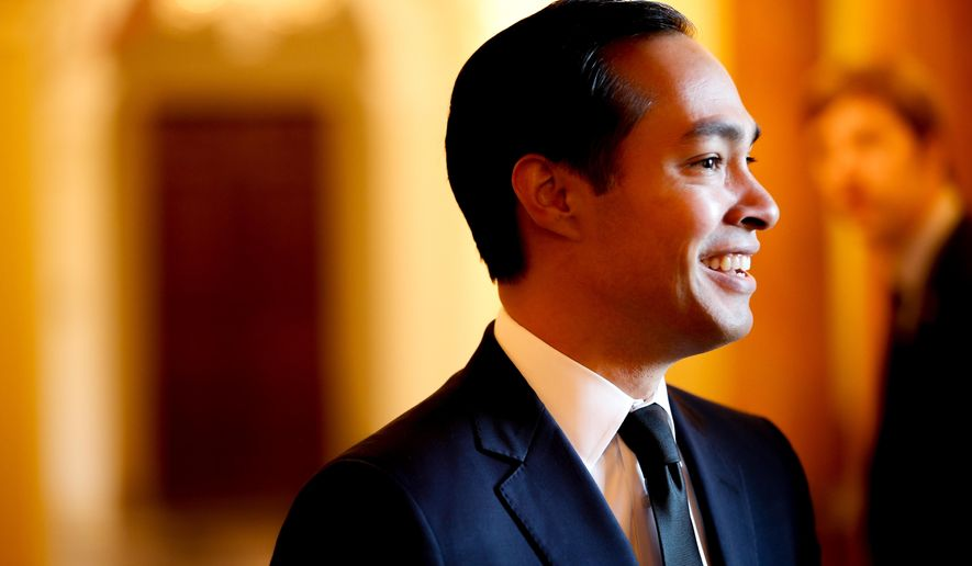 FILE - In this March 18, 2015 file photo, Secretary of Housing and Urban Development Julian Castro arrives at a reception in Washington. Castro announced Tuesday, April 28, 2015 that six  metropolitan areas, one rural region and one tribal community have been designated as Promise Zones under an Obama administration program that seeks to revitalize high-poverty communities. (AP Photo/Andrew Harnik, File)