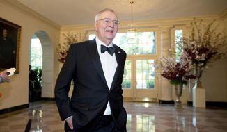 Former Vice President Walter Mondale arrives for a state dinner for Japanese Prime Minister Shinzo Abe, Tuesday, April 28, 2015, at the White House in Washington. (AP Photo/Andrew Harnik)