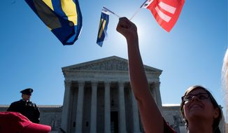 Supporters of marriage equality gathered outside the Supreme Court to demonstrate support for LGBT couples on Tuesday as justices inside asked questions that cautiously encouraged both sides of the debate on same-sex marriage. Justice Anthony M. Kennedy was closely watched. (Associated Press)