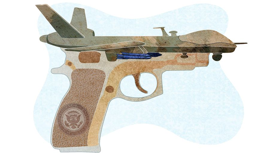 Illegal drone killings illustration by Greg Groesch/The Washington Times