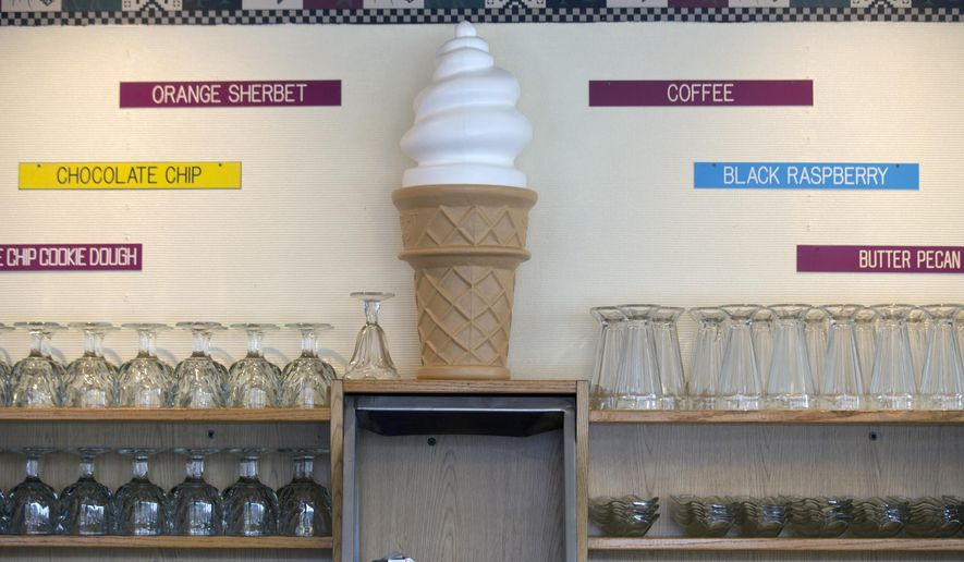 In this Wednesday, April 8, 2015, photo, ice cream dishes are lined up on shelves at Howard Johnson's Restaurant in Lake George, N.Y. (AP Photo/Mike Groll) ** FILE **