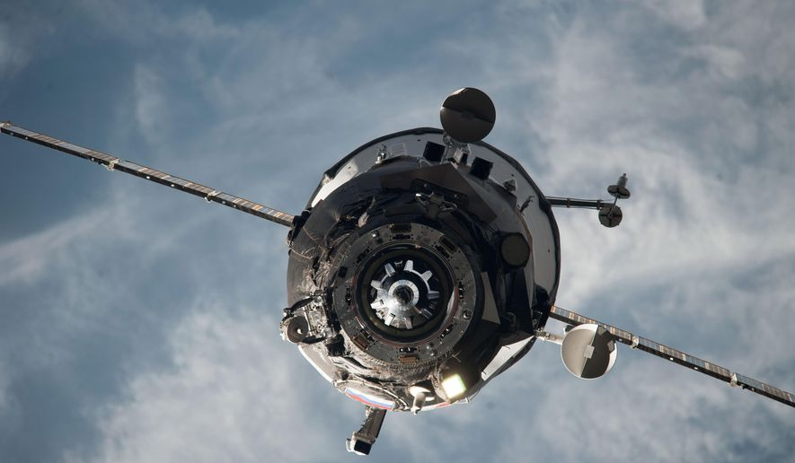 In this Feb. 5, 2014 photo provided by NASA, an ISS Progress resupply vehicle approaches the International Space Station. On Wednesday, April 29, 2015, NASA and the Russian Space Agency declared a total loss on an unmanned Progress capsule, carrying 3 tons of goods to the station. The spacecraft began tumbling when it reached orbit Tuesday, following launch from Kazakhstan, and flight controllers were unable to bring it under control. (NASA via AP)