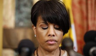 Mayor Stephanie Rawlings-Blake pauses while speaking during a media availability at City Hall, after violence occurred after a march for Freddie Gray, Saturday, April 25, 2015 in Baltimore. Gray died from spinal injuries about a week after he was arrested and transported in a police van. (AP Photo/Alex Brandon)