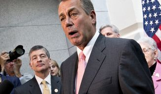 "FILE - In this Oct. 10, 2013 file photo, House Financial Service Committee Chairman Rep. Jeb Hensarling, R-Texas, left, listens as House Speaker John Boehner of Ohio speaks during a news conference on Capitol Hill in Washington.  Boehner says thousands of jobs would ""disappear pretty quickly"" if the Export-Import Bank were to abruptly expire when its charter runs out at the end of June.The Ohio Republican says he's told a top GOP colleague Hensarling, to come up with a plan to reform or wind down the operations of the bank, which helps finance exports of U.S. products such as jetliners and wind turbines. (AP Photo/J. Scott Applewhite, File)"