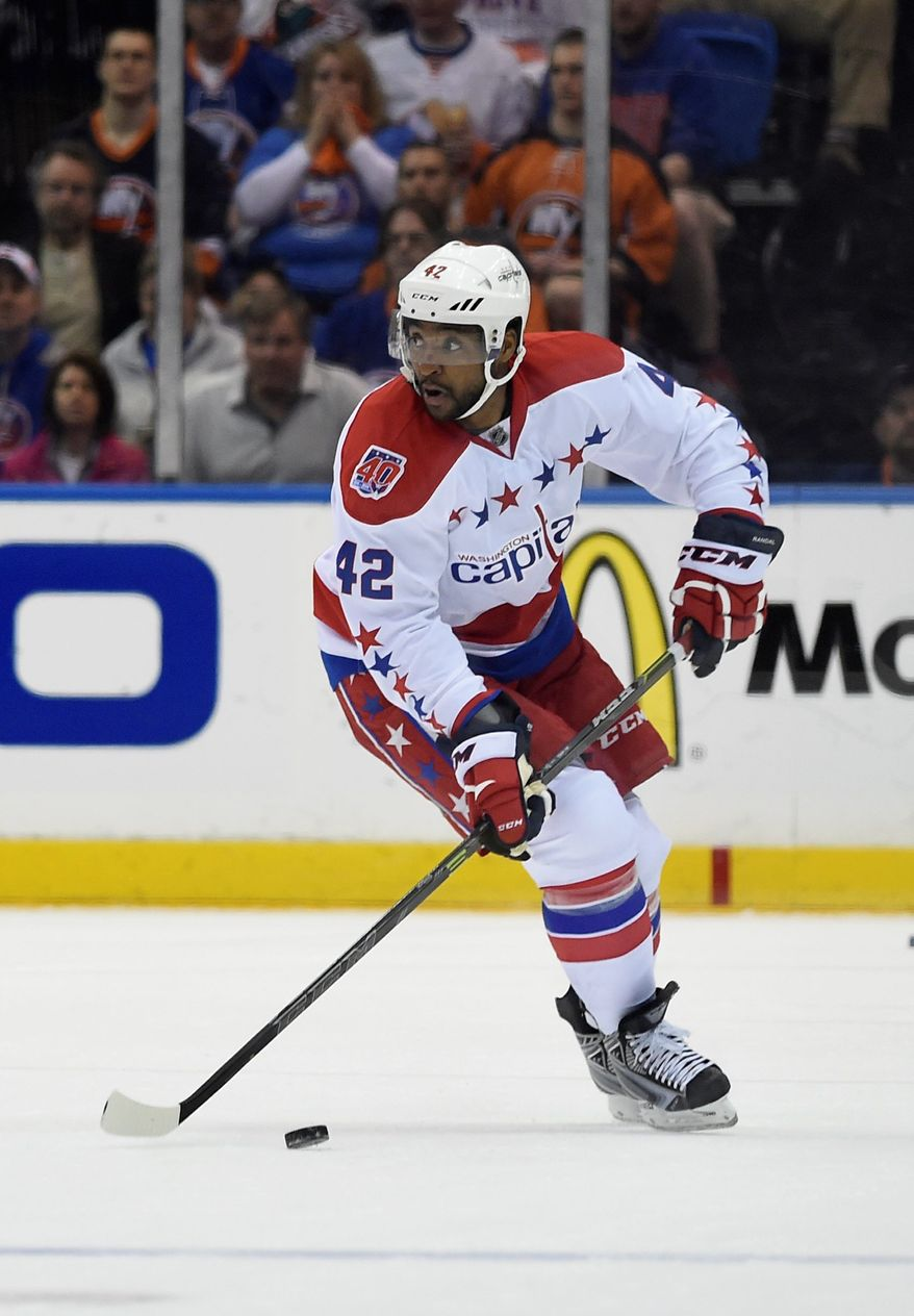 Washington Capitals right wing Joel Ward (42) looks to pass the puck in the first         period of Game 6 of a first-round NHL Stanley Cup hockey playoffs against the New York Islanders at Nassau Coliseum on Saturday, April 25, 2015, in Uniondale, N.Y. (AP Photo/Kathy Kmonicek)