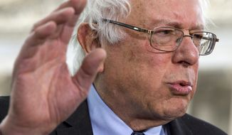 Sen. Bernie Sanders, I-Vt., speaks to the media about his agenda in running for president, Thursday, April 30, 2015, on Capitol Hill in Washington. (AP Photo/Jacquelyn Martin)
