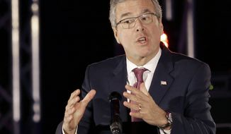 "FILE - In this April 29,2015 file photo, former Florida Gov. Jeb Bush speaks in Houston. He spoke in a language most Republican presidential primary voters do not understand. ""You are part of the new wave of hope for this country,"" Jeb Bush said in fluent Spanish to the National Hispanic Christian Leadership Conference this week. Switching to English, he said the U.S. needs immigrants for the country ""to become young and dynamic again.""  (AP Photo/Pat Sullivan, File)"