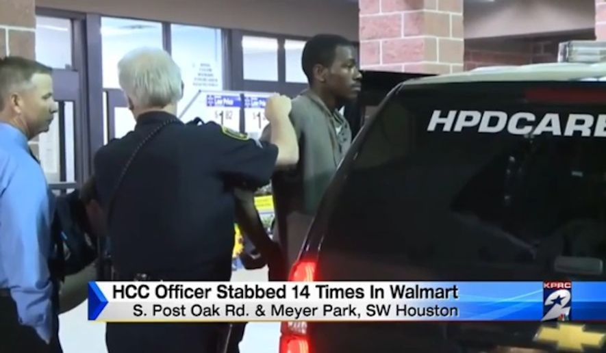 Houston police have charged 23-year-old Jeremiah M. Matthews with attempted capital murder after he allegedly stabbed an off-duty police woman 14 times at a Meyerland Walmart. (KPRC-TV)