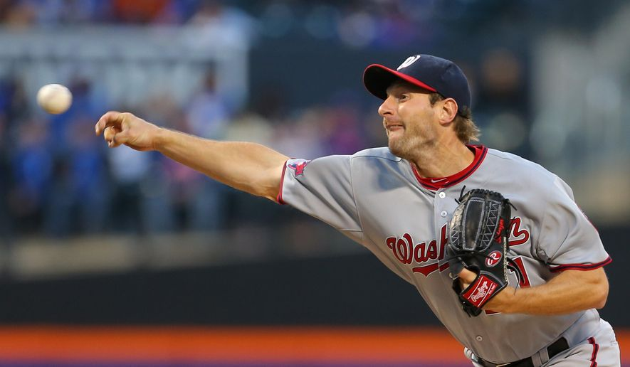 Washington Nationals starting pitcher Max Scherzer delivers against the New York Mets during the first inning of a baseball game in New York, Friday, May 1, 2015. (AP Photo/Adam Hunger)