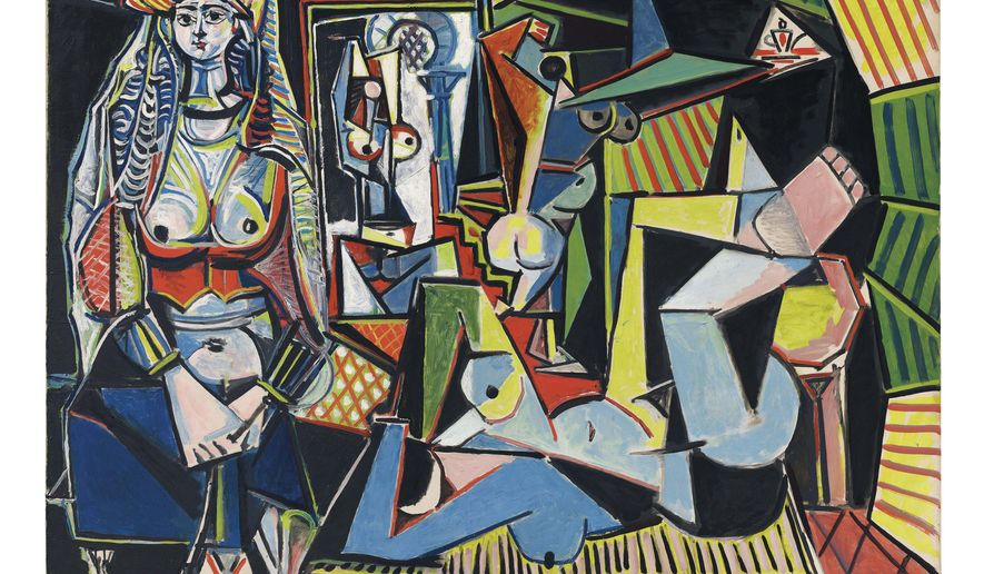 """This undated photo provided by Christie's, courtesy of the Estate of Pablo Picasso/Artists Rights Society (ARS), New York, shows Pablo Picasso's """"Women of Algiers (Version O),"""" which is being offered for sale at Christie's in New York on May 11, 2015, as part of New York City's spring art auctions. The 1955 masterpiece, estimated to bring more than $140 million, is poised to become the most expensive artwork sold at auction. (2015 Estate of Pablo Picasso/Artists Rights Society (ARS), New York/Christie's via AP)"""