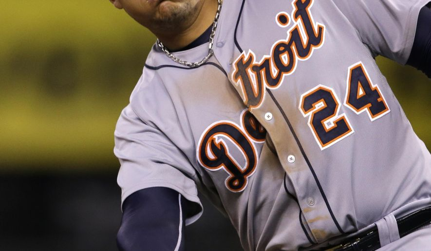 Detroit Tigers' Miguel Cabrera (24) tosses his helmet after being left on base during the fourth inning of a baseball game against the Kansas City Royals at Kauffman Stadium in Kansas City, Mo., Friday, May 1, 2015. (AP Photo/Orlin Wagner)