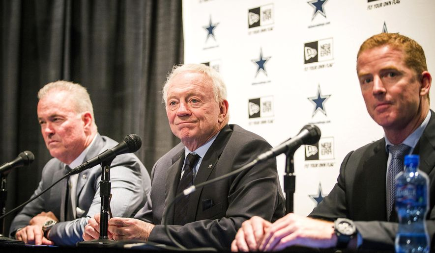 Dallas Cowboys executive vice president/COO Stephen Jones, left, owner Jerry Jones, center, and head coach Jason Garrett address the media to discuss their first round pick of UConn cornerback Byron Jones on the first day of the NFL Draft, Thursday, April 30, 2015, in Irving, Texas. (Smiley N. Pool/The Dallas Morning News via AP) MANDATORY CREDIT, NO SALES, MAGS OUT, TV OUT, INTERNET USE BY AP MEMBERS ONLY