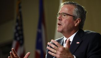 Former Florida Gov. Jeb Bush speaks in San Juan, Puerto Rico in this April 28, 2015, photo. (AP Photo/Ricardo Arduengo)