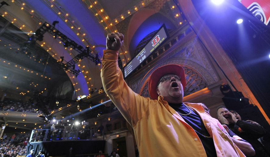 Fans cheer during the second round of the 2015 NFL Football Draft, Friday, May 1, 2015, in Chicago. (AP Photo/Paul Beaty)