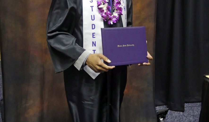 Portland Trail Blazers point guard Damian Lillard poses for a photograph during commencement exercises at Weber State Friday, May 1, 2015, in Ogden, Utah. Lillard graduated with a degree in professional sales from the College of Applied Science & Technology. (AP Photo/Rick Bowmer)