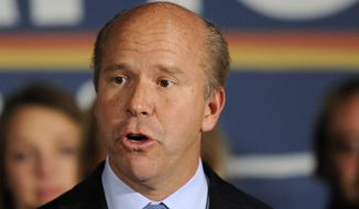 In this Nov. 6, 2012, file photo, then-Rep.elect John Delaney, D-Md., speaks at an election night victory party in Potomac, Md. (AP Photo/Nick Wass, File)