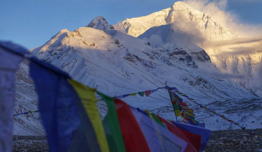 This undated photo provided by Alpenglow Expeditions, Mount Everest is seen from a base camp on the northern Tibetan side of the mountain. Although no one climbing on the north side was injured following the Saturday, April 25, 2015, earthquake that triggered an avalanche at the base camp on the Nepal side, Chinese officials decided to end the climbing season on their side of the mountain, according to Adrian Ballinger, a guide with Alpenglow Expeditions, who was leading a group of climbers and Sherpas on the Tibetan side when the earthquake struck. (Adrian Ballinger/Alpenglow Expeditions via AP)
