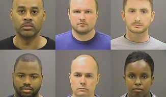 This photo provided by the Baltimore Police Department on Friday, May 1, 2015 shows, top row from left, Caesar R. Goodson Jr., Garrett E. Miller and Edward M. Nero, and bottom row from left, William G. Porter, Brian W. Rice and Alicia D. White, the six police officers charged with felonies ranging from assault to murder in the death of Freddie Gray. (Baltimore Police Department via AP)