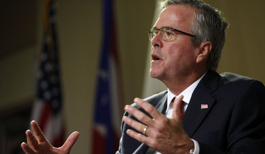 In this photo taken April 28, 2015, former Florida Gov. Jeb Bush speaks in San Juan, Puerto Rico. Bush said Friday he trusts the legal process that resulted in charges against six Baltimore officers in the death of a man from injuries sustained while in police custody. (AP Photo/Ricardo Arduengo)