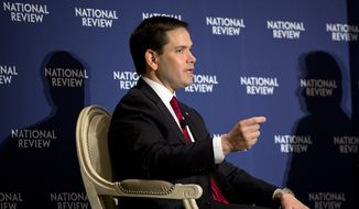 Republican presidential candidate Sen. Marco Rubio, R-Fla. speaks to the National Review, Friday, May 1, 2015, at the Willard Hotel in Washington. (AP Photo/Jacquelyn Martin)