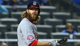 Washington Nationals' Jayson Werth reacts after striking out against the New York Mets during the fourth inning of a baseball game in New York, Friday, May 1, 2015. (AP Photo/Adam Hunger)