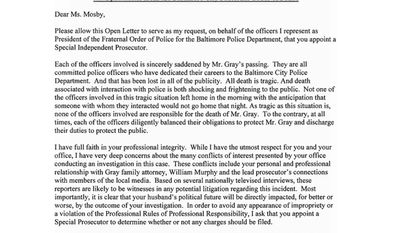 Baltimore City Fraternal Order of Police (FOP) Lodge 3 sent an open letter to State's Attorney Marilyn Mosby. (Twitter: @FOP3)
