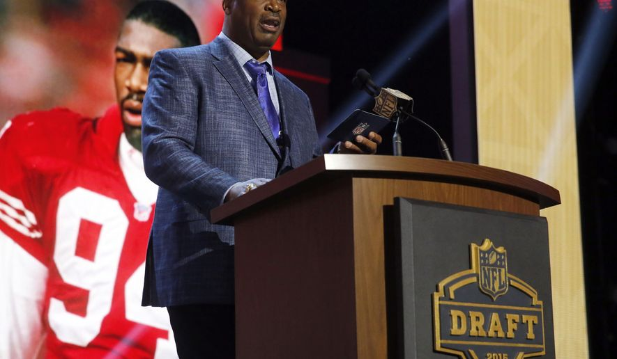 NFL Hall of Famer Charles Haley announces that the San Francisco 49ers selects Samford defensive back Jaquiski Tartt as the 46th pick in the second round of the 2015 NFL Football Draft,  Friday, May 1, 2015, in Chicago. (AP Photo/Charles Rex Arbogast)
