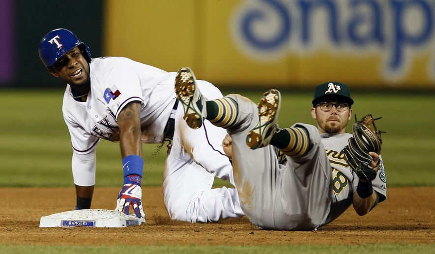 Texas Rangers' Elvis Andrus, left, and Oakland Athletics second baseman Eric Sogard, right, look for the call after Andrus doubled during the fifth inning of a baseball game, Friday, May 1, 2015, in Arlington, Texas, (AP Photo/Jim Cowsert)