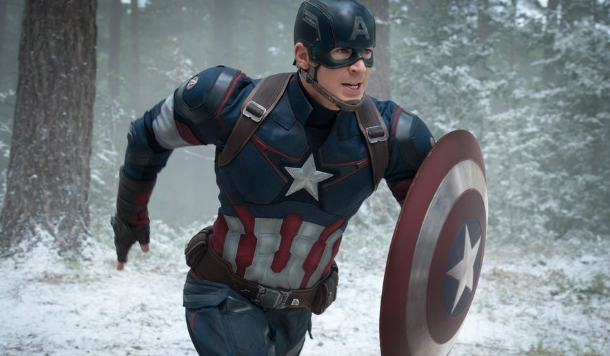 "This photo provided by Disney/Marvel shows, Chris Evans as Captain America/Steve Rogers, in the new film, ""Avengers: Age Of Ultron."" (Jay Maidment/Disney/Marvel via AP) ** FILE **"