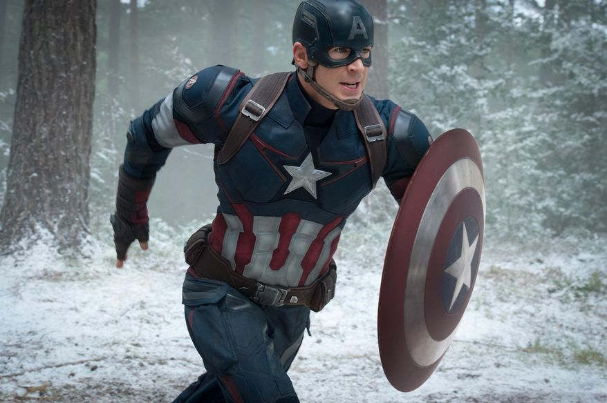 """This photo provided by Disney/Marvel shows, Chris Evans as Captain America/Steve Rogers, in the new film, """"Avengers: Age Of Ultron."""" (Jay Maidment/Disney/Marvel via AP) ** FILE **"""