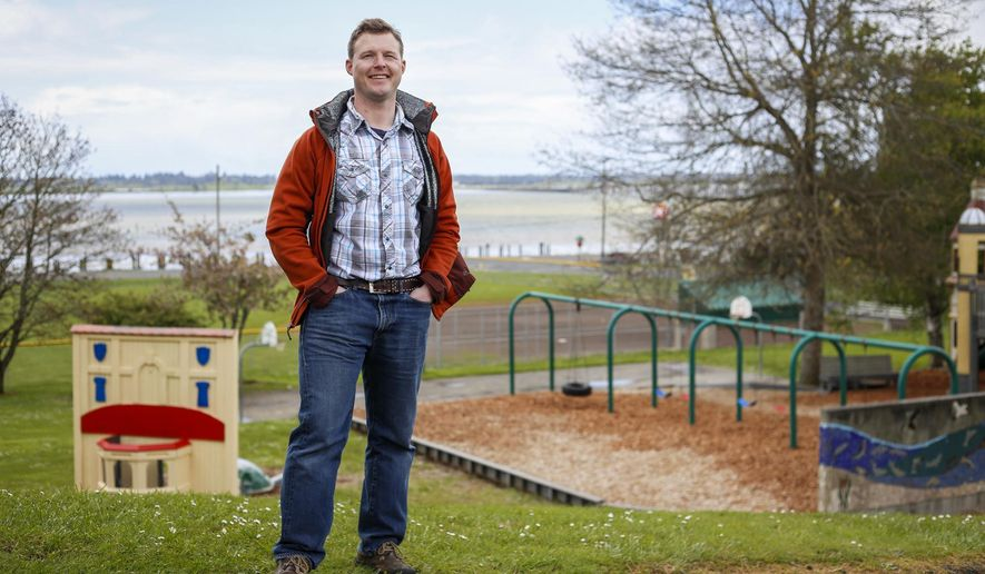 In this April 24, 2014 photo, Matthew Zedwick stands at Tapiola Park in Astoria, Ore. Tapiola Park received a nearly $4,000 grant from the Land and Water Conservation Fund in 1972 for park improvements. Zedwick and five other veterans with the Vet Voice Foundation took a trip to Washington D.C. in April to meet with Oregon senators to discuss reauthorizing the Land and Water Conservation Fund. (Joshua Bessex/Daily Astorian via AP)