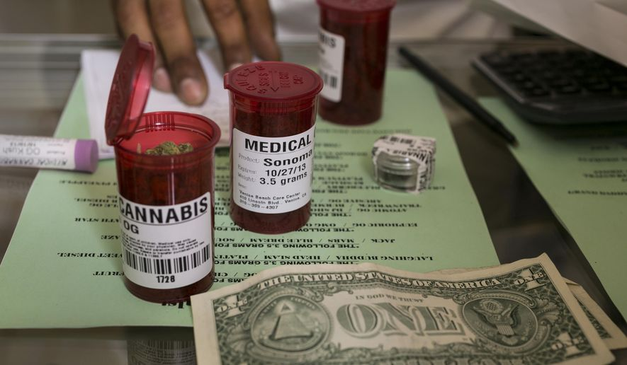 FILE - In this May 14, 2013 file photo, medical marijuana prescription vials are filled at a medical marijuana dispensary in Venice, Calif. On Saturday, May 2, 2015, The Los Angeles Times reported that the California legislature is considering multiple _ and conflicting _ plans to impose the first major statewide restrictions on medical marijuana dispensaries and growers. California was the first state in 1996 to legalize the sale of marijuana for medical use. More than 1,000 dispensaries operate in the state. (AP Photo/Damian Dovarganes, File)