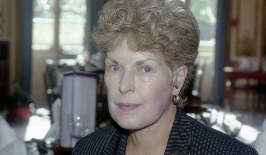 FILE - This September 1995 file photo shows Ruth Rendell, in London. Prolific crime writer Ruth Rendell is in critical but stable condition after suffering a stroke. The author and political Labour Party peer has written more than 60 novels.  Best-selling crime writer Ruth Rendell has died aged 85, according to an announcement released by her publishers Penguin Random House, who state she passed away in London early Saturday. (AP Photo/Max Nash, File)