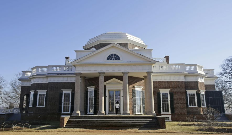 FILE - In this Feb. 7, 2014 file photo, Thomas Jefferson's Monticello home is seen in Charlottesville, Va. The first part of a restoration project that was launched two years ago with a $10 million gift from Washington philanthropist David Rubenstein will be unveiled Saturday. (AP Photo/Steve Helber, File)