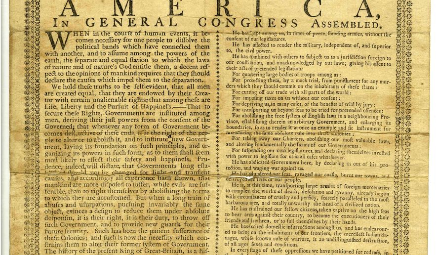 This undated photo provided by the The Cincinnati Museum Center shows the Declaration of Independence in Cincinnati, Ohio. The rare Declaration of Independence copy printed more than two centuries ago and tucked away in historical archives in Ohio for more than 140 years will be displayed publicly for the first time by The Cincinnati Museum Center. The Cincinnati Museum Center says the Holt broadside was printed by newspaper and printer John Holt in White Plains, New York, on July 9, 1776. Broadsides are poster-like documents historically used for advertisements and news, including political proclamations.(AP Photo/The Cincinnati Museum Center via AP)