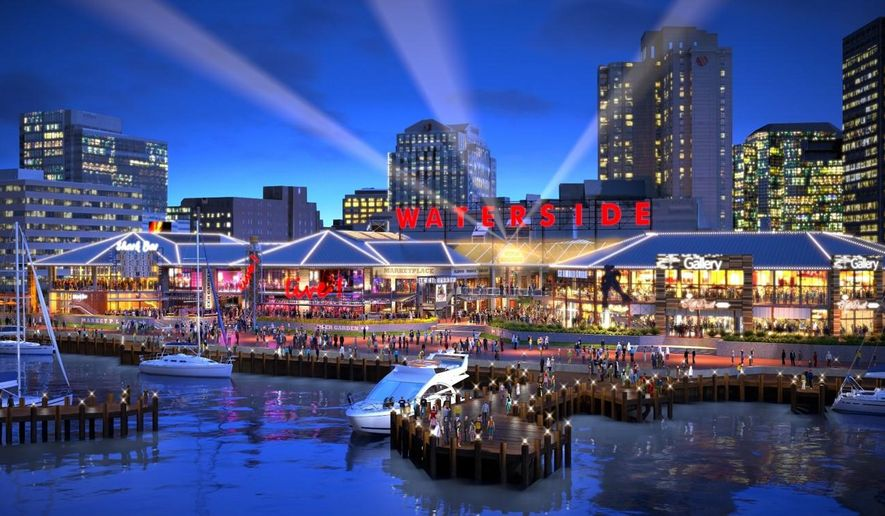 ADVANCE FOR SUNDAY MAY 3 AND THEREAFTER - This image provided by the Cordish Companies shows an artist version of Waterside Live, the redevelopment of one of the most valuable pieces of riverfront real estate in downtown Norfolk, Va., a once lively marketplace that now sits almost entirely empty aside from a Hooters restaurant.  Waterside is finally about to be put out its misery. In its place, the city is turning to a development company that has revitalized downtowns in places like Kansas City and Baltimore built mega-entertainment complexes.  (The Cordish Companies via AP)