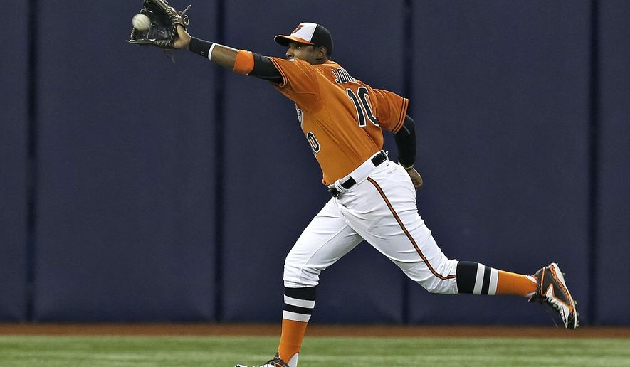 Baltimore Orioles center fielder Adam Jones makes a running catch on a fly out by Tampa Bay Rays' Bobby Wilson during the eighth inning of a baseball game Saturday, May 2, 2015, in St. Petersburg, Fla. The game was moved from Baltimore to St. Petersburg due to civil unrest. The Orioles won the game 4-0. (AP Photo/Chris O'Meara)