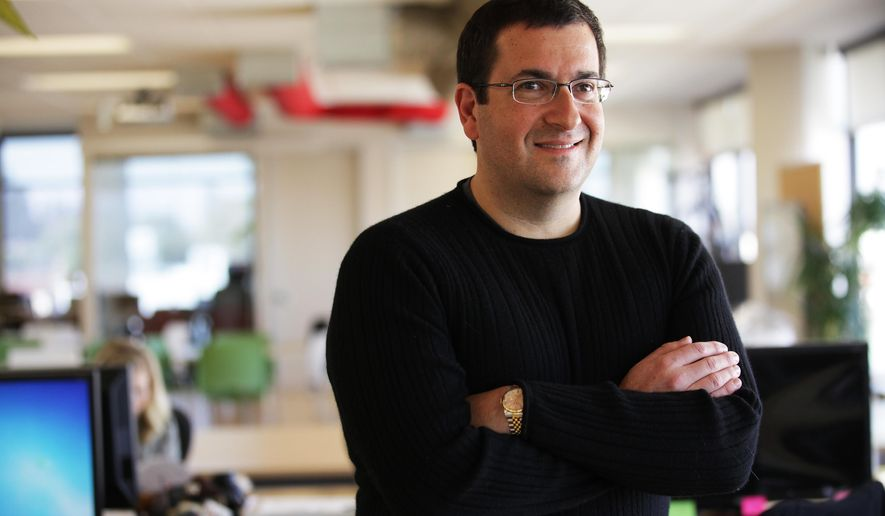 In this Feb. 1, 2013 photo, David Goldberg, the CEO of Survey Monkey poses at their headquarters in Palo Alto, Calif. David Goldberg, a Silicon Valley veteran who was best-known for being the husband of Facebook executive Sheryl Sandberg, has died suddenly at age 47, his company and family members said Saturday, May, 2, 2015. (Jim Wilson/The New York Times via AP)  MANDATORY CREDIT;  NYC OUT;  MAGS OUT; NO SALES; TV OUT,  NO ARCHIVE