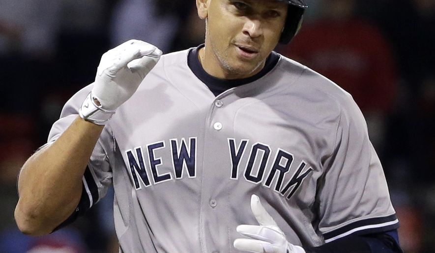 New York Yankees pinch hitter Alex Rodriguez runs to first after hitting a solo homer in the eighth inning of a baseball game against the Boston Red Sox at Fenway Park in Boston, Friday, May 1, 2015. Rodriguez has now tied slugger Willie Mays with 660 career home runs. (AP Photo/Elise Amendola)