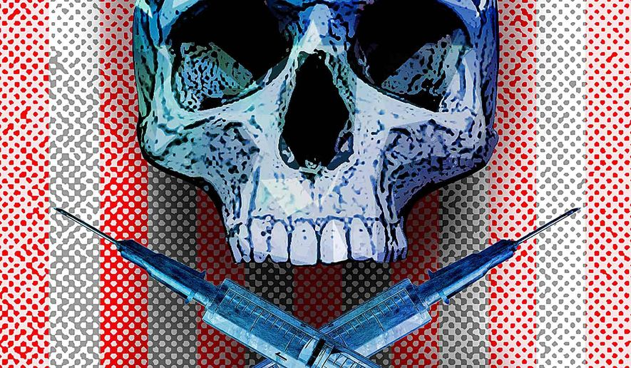 Skull and hypodermic needles illustration by Greg Groesch/The Washington Times