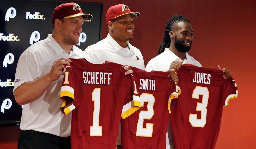 Tackle Brandon Scherff, linebacker Preston Smith and running back Matt Jones were the top three selections by the Washington Redskins in the NFL draft. (Associated Press)